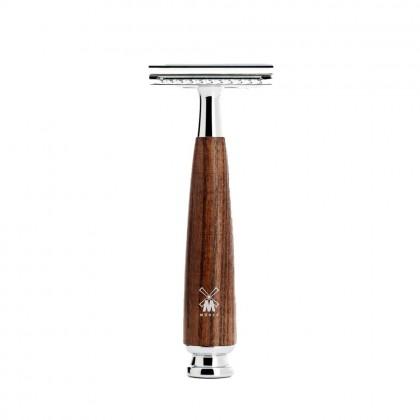 MÜHLE RYTMO S81H220SSR Steamed Ash Wood 4 Piece Set Safety Razor, Pure Badger Brush Muhle Shaving Set from Germany