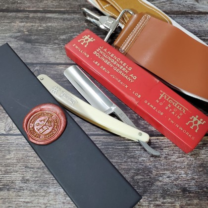 J.A HENKELS 72 1/2 INOX Stainless NOS with box  Vintage Straight Razor Made in Germany